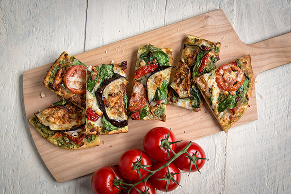 Roasted Eggplant, Spinach & Feta Flatbread
