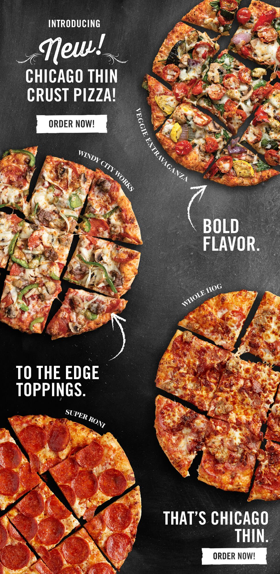 New! - Introducing Chicago Thin Crust Pizza!
